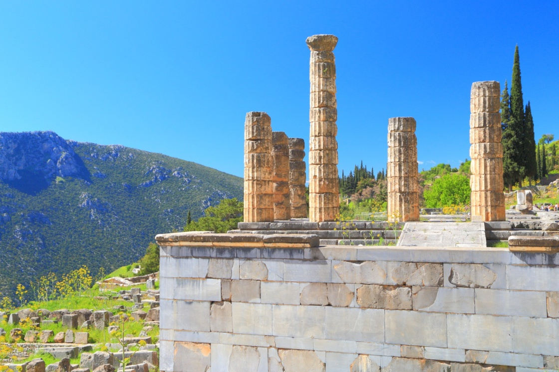 Columns of the temple dedicated to Apollo at Delphi, Greece